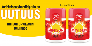 Uusi vahvuus Minisun D-vitamiini 75 µg